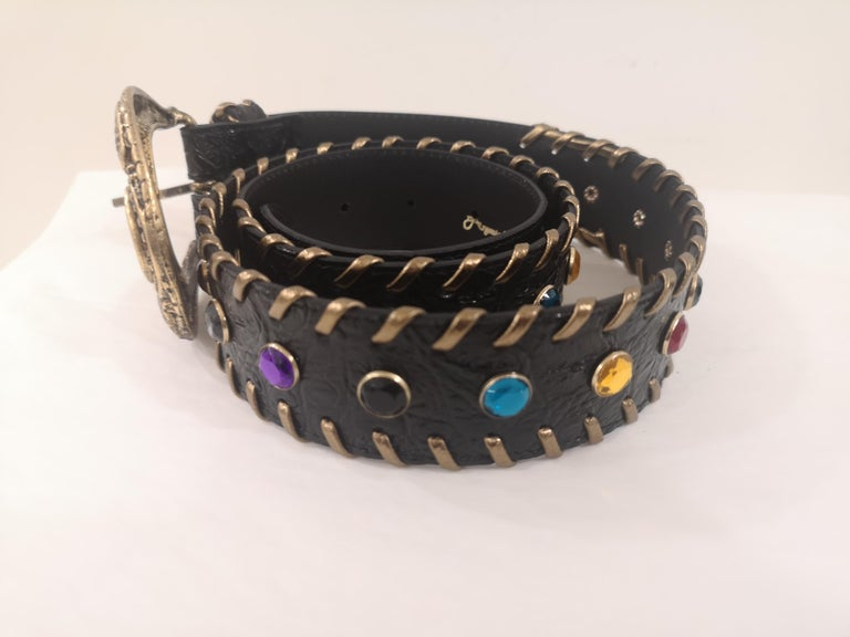 Black leather swarovski handmade belt NWOT In New Condition For Sale In Capri, IT