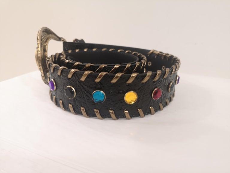 Women's or Men's Black leather swarovski handmade belt NWOT For Sale