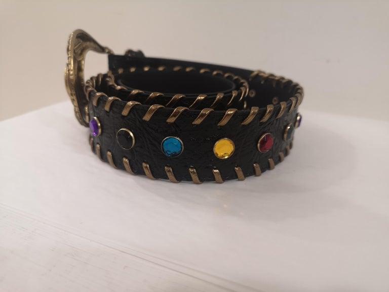 Black leather swarovski handmade belt NWOT For Sale 1