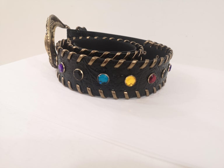 Black leather swarovski handmade belt NWOT For Sale 2