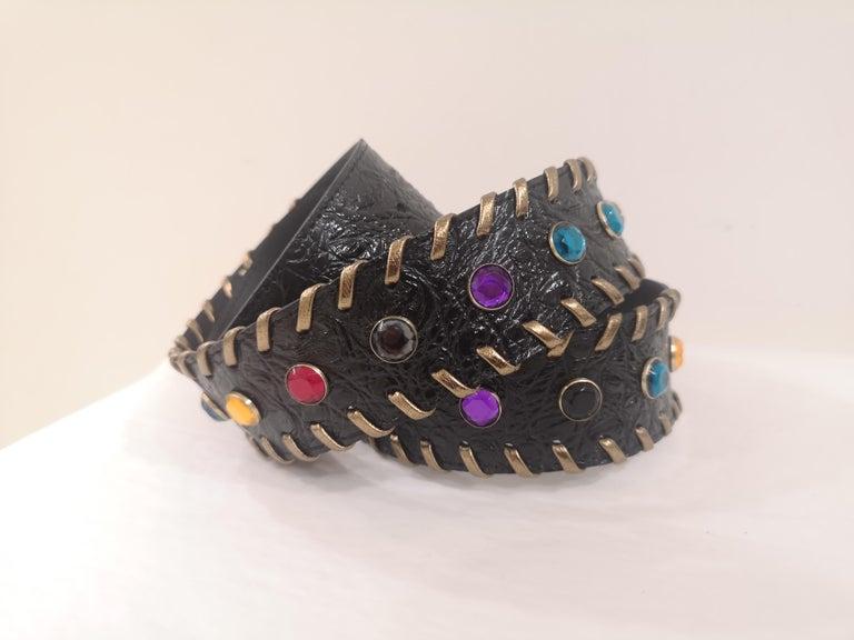 Black leather swarovski handmade belt NWOT For Sale 3