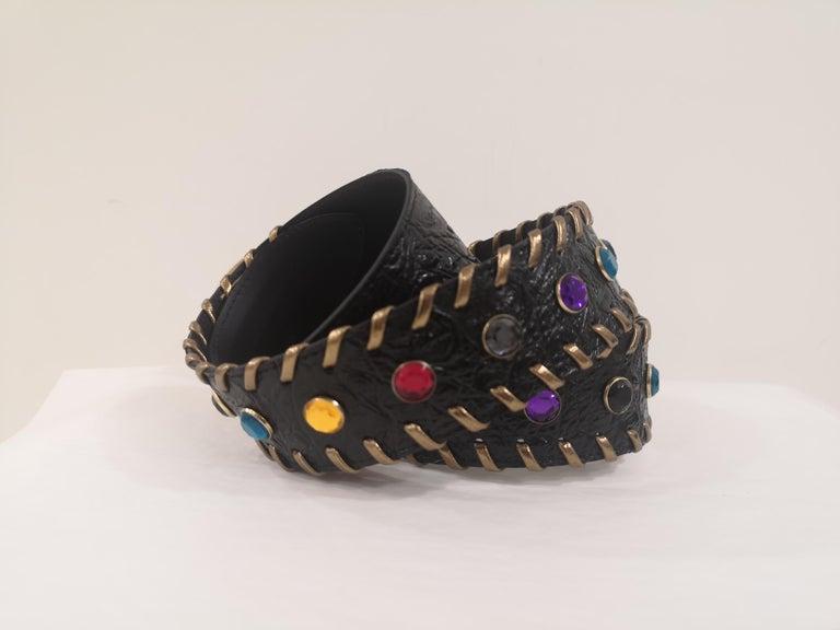 Black leather swarovski handmade belt NWOT For Sale 4