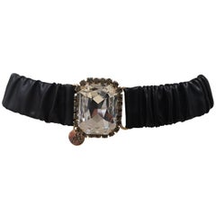 Black leather swarovski stone buckle belt