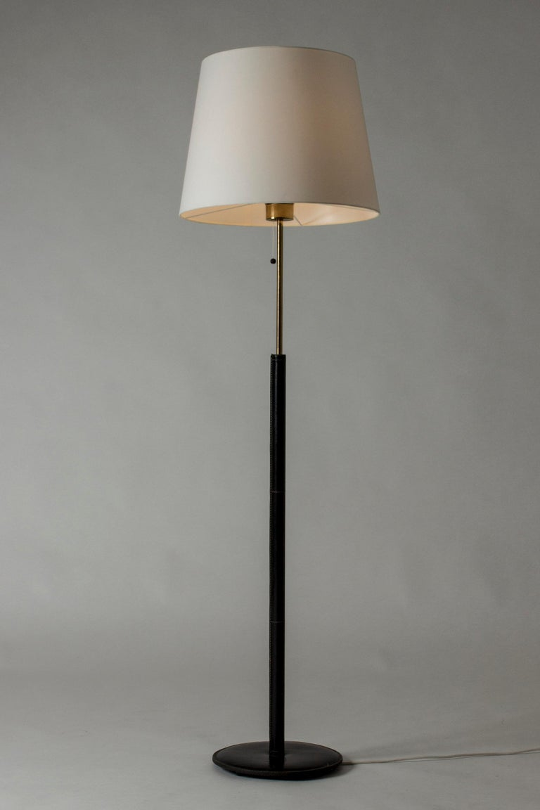 Mid-Century Modern Black Leather Swedish Floor Lamp from Bergboms For Sale