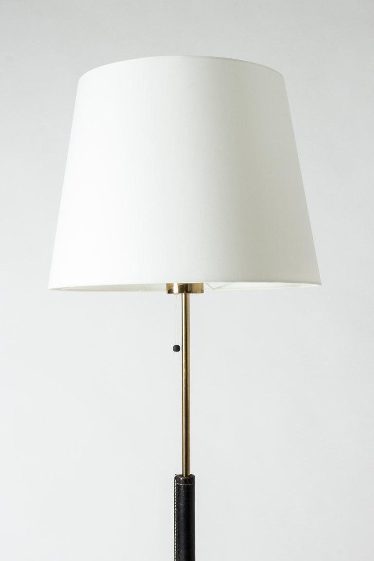 Black Leather Swedish Floor Lamp from Bergboms In Good Condition For Sale In Stockholm, SE
