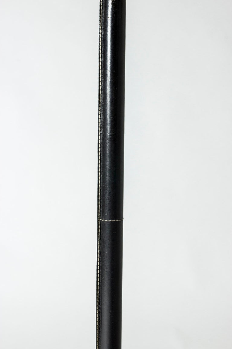 Mid-20th Century Black Leather Swedish Floor Lamp from Bergboms For Sale
