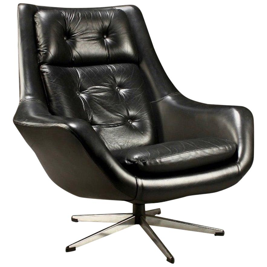 Black Leather Swivel Armchair by Henry Walter Klein for Bramin
