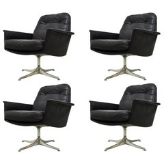 Black Leather Swivel Lounge Chairs by Horst Bruning for COR, 1960s