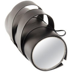 Black Leather Table Mirror, France, 2018