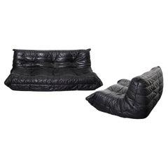 Black Leather Togo Set, 2 and 3 Seater, Michel Ducaroy  by Ligne Roset 1973