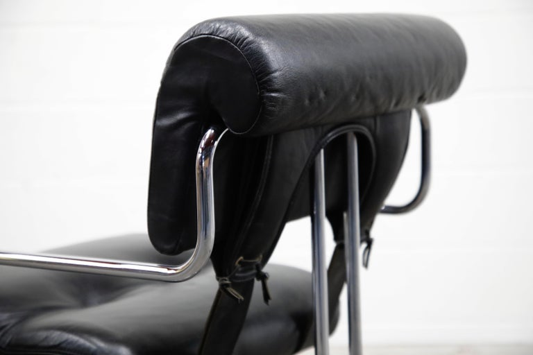 Black Leather Tucroma Chairs by Guido Faleschini for i4 Mariani, 1970s, Signed For Sale 6
