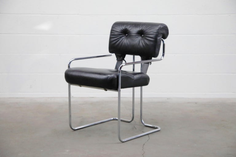 Modern Black Leather Tucroma Chairs by Guido Faleschini for i4 Mariani, 1970s, Signed