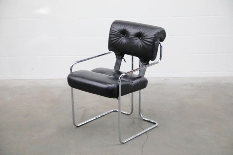 Italian Black Leather Tucroma Chairs by Guido Faleschini for i4 Mariani, 1970s, Signed For Sale