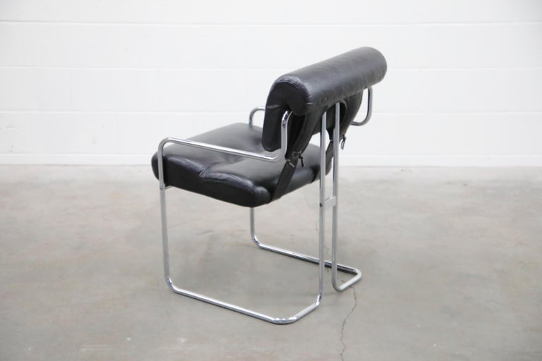 Black Leather Tucroma Chairs by Guido Faleschini for i4 Mariani, 1970s, Signed In Good Condition For Sale In Los Angeles, CA