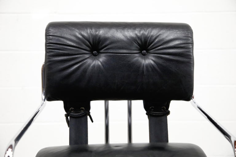 Late 20th Century Black Leather Tucroma Chairs by Guido Faleschini for i4 Mariani, 1970s, Signed For Sale