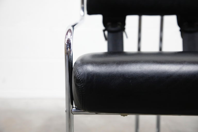 Black Leather Tucroma Chairs by Guido Faleschini for i4 Mariani, 1970s, Signed 1