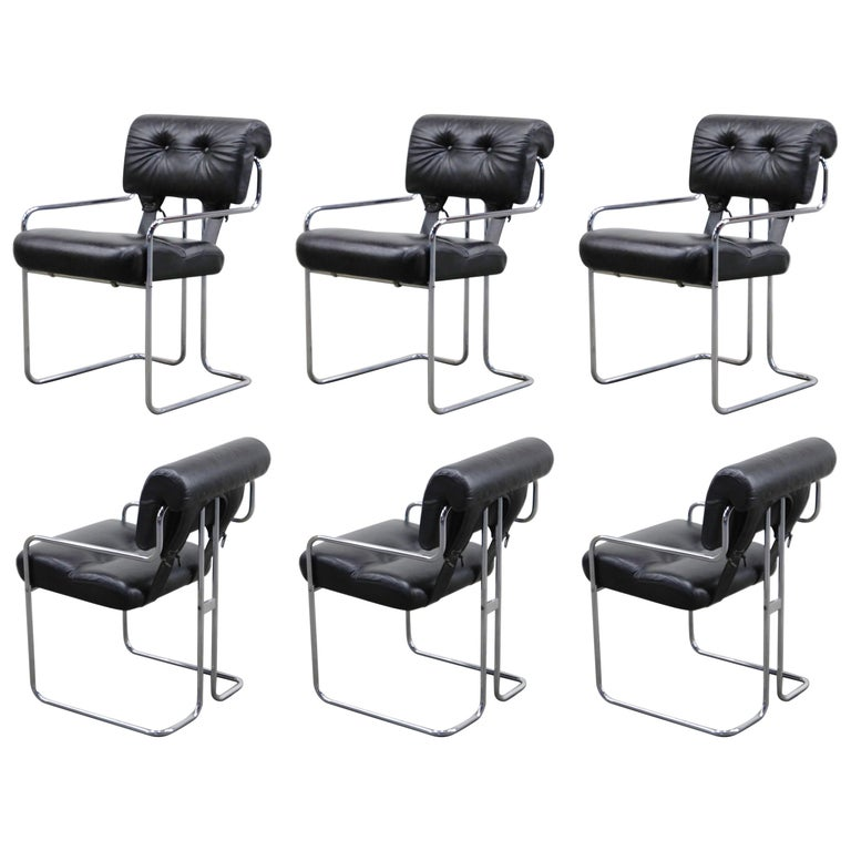 Black Leather Tucroma Chairs by Guido Faleschini for i4 Mariani, 1970s, Signed For Sale