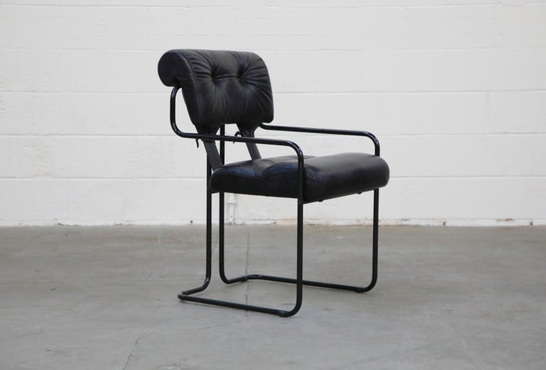 Modern Black Leather Tucroma Chairs by Guido Faleschini for Mariani Pace, 1970s, Signed For Sale