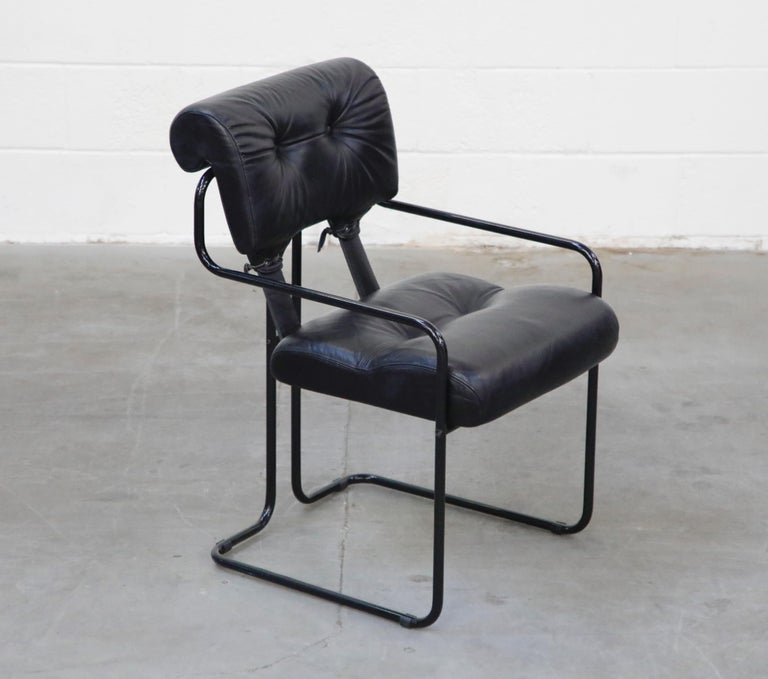 Italian Black Leather Tucroma Chairs by Guido Faleschini for Mariani Pace, 1970s, Signed For Sale