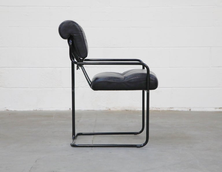 Late 20th Century Black Leather Tucroma Chairs by Guido Faleschini for Mariani Pace, 1970s, Signed For Sale