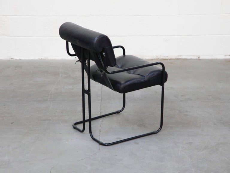 Black Leather Tucroma Chairs by Guido Faleschini for Mariani Pace, 1970s, Signed For Sale 1