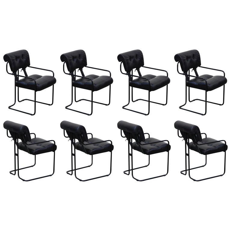 Black Leather Tucroma Chairs by Guido Faleschini for Mariani Pace, 1970s, Signed For Sale