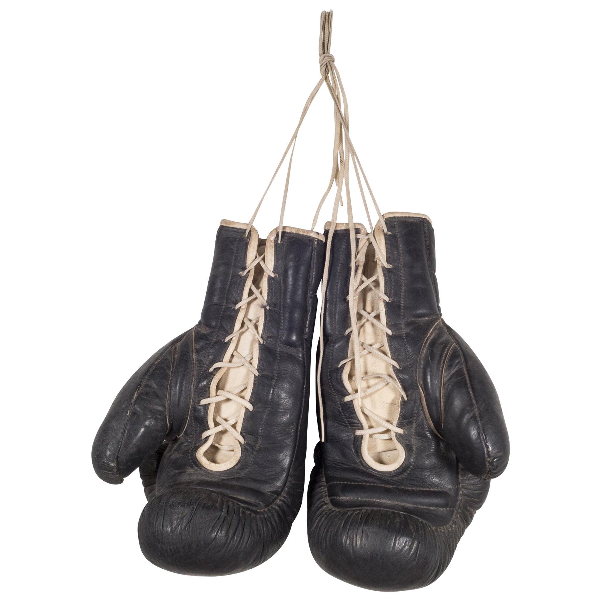 Black Leather Tuf Wear Boxing Gloves, c.1970
