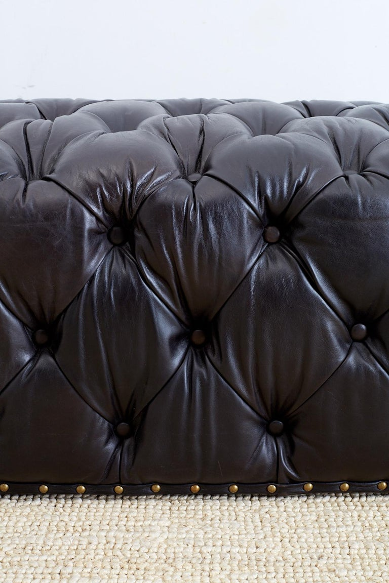 Black Leather Tufted Ottoman Or Bench At 1stdibs