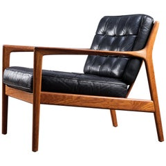 Black Leather USA-75 Armchair by Folke Ohlsson for DUX, 1960s