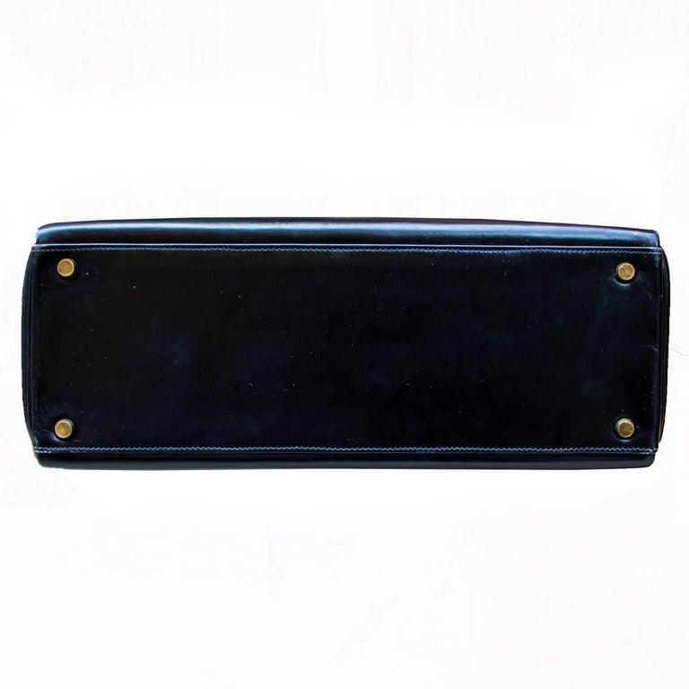 Black Leather Vintage Hermes Handbag For Sale 6