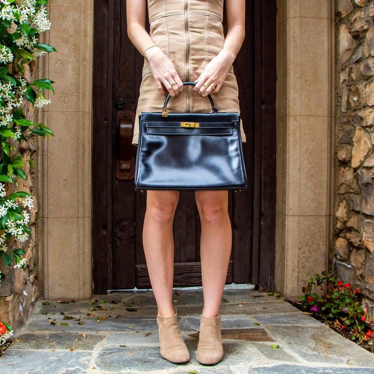 Black Leather Vintage Hermes Handbag For Sale 2