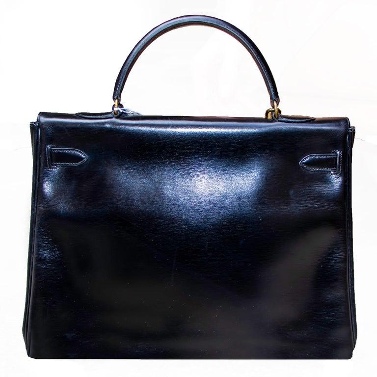 Black Leather Vintage Hermes Handbag For Sale 3