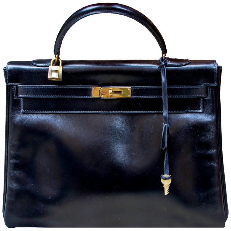 Black Leather Vintage Hermes Handbag For Sale