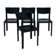 Black Leather Vintage Saporiti Chairs
