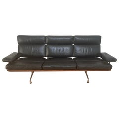 Black Leather & Walnut Three Seat Sofa by Charles & Ray Eames for Herman Miller