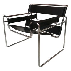Black Leather Wassily Armchair by Marcel Breuer for Gavina, 1968