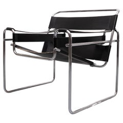 Black Leather Wassily Chair by Marcel Breuer Model B3