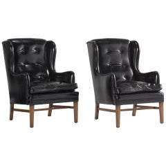 Black Leather Wing Armchairs, Sweden, circa 1950