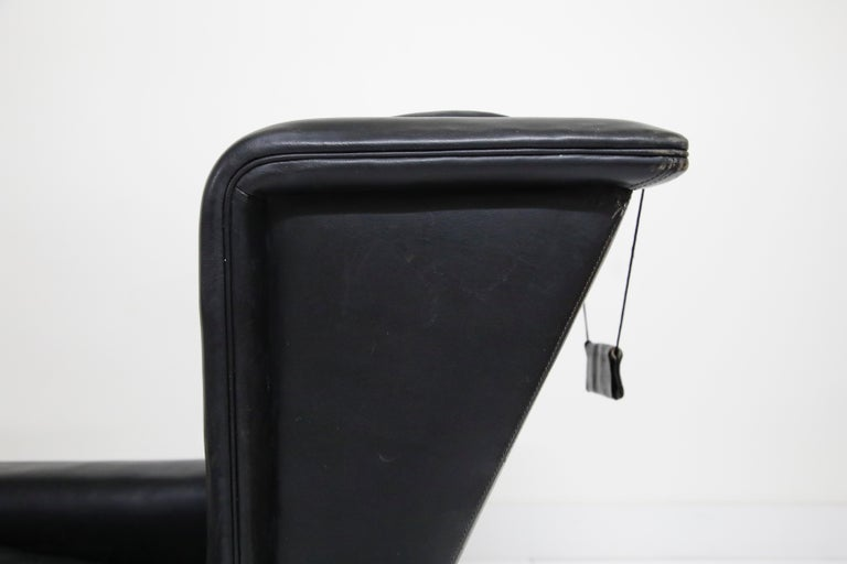 Black Leather Wingback Armchair by Gerhard Berg for Stokke Fabrikker, circa 1965 For Sale 4