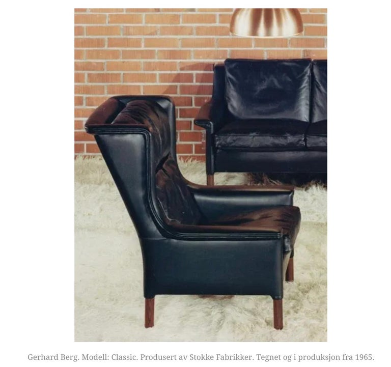 Black Leather Wingback Armchair by Gerhard Berg for Stokke Fabrikker, circa 1965 For Sale 5