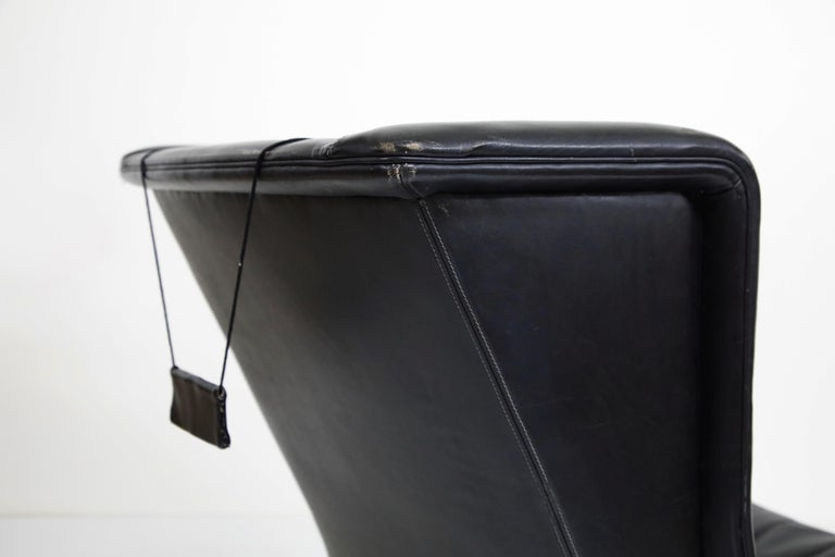Black Leather Wingback Armchair by Gerhard Berg for Stokke Fabrikker, circa 1965 In Good Condition For Sale In Los Angeles, CA