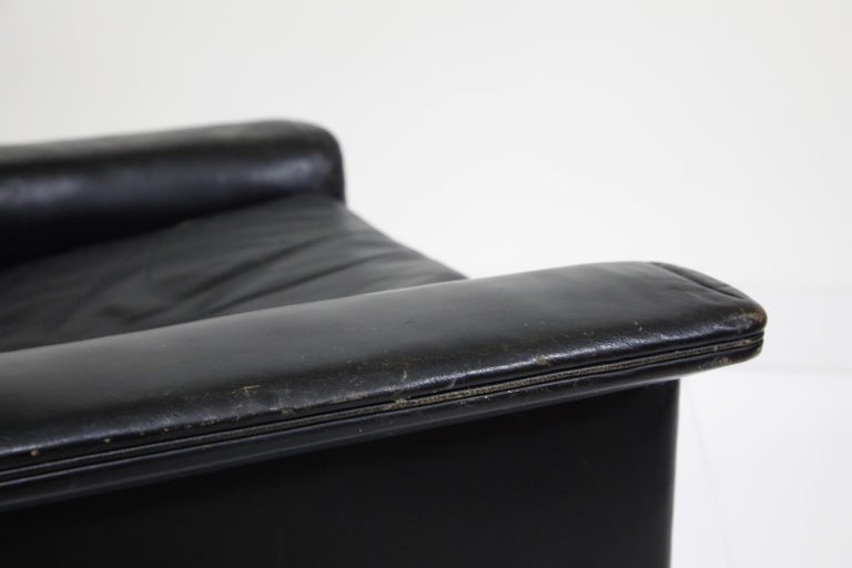 Black Leather Wingback Armchair by Gerhard Berg for Stokke Fabrikker, circa 1965 For Sale 2