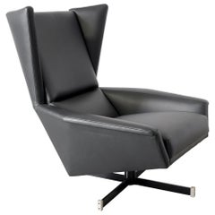 Black Leathered Swivel Armchair from the Early 1970s