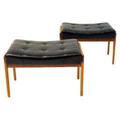 Black Leatherette and Teak Footstool Pair by Bröderna Andersson, 1950s, Sweden