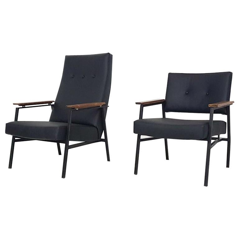"""Black Leatherette """"High and Low"""" Lounge Chairs by Avanti, Dutch Design, 1960s"""
