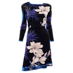 Black Leonard 2 Pc Silk Jersey Floral Print Dress W Long Sleeve Top & Skirt