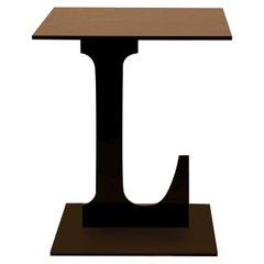Black Letter L Side Table