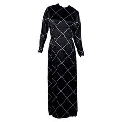 Black & Light Blue Vintage Norell Tassel Printed Dress