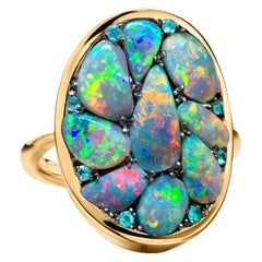 Black Lightning Ridge Opal, Paraïba Tourmaline Pave Ring