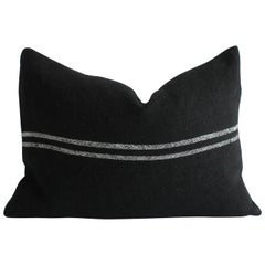 Black Linen Lumbar Pillow with Off-White Stripes